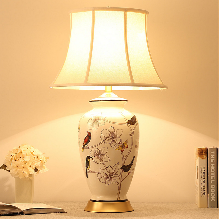 Chinese rustic whiteblue flower bird ceramic table lamps vintage linen shade copper base e27 led lamp for bedsidefoyer mf051 in table lamps from lights