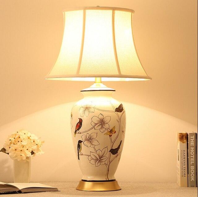 Chinois rustique blanc et bleu fleur oiseau en céramique Lampes de