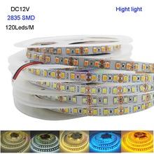 5M Hight light DC12V 2835 SMD 120 Leds/m IP20 Flexible LED Strip light white/warm white/White/blue/Ice blue/golden yellow