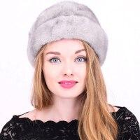 Women Solid Mink Fur Hats Winter Casual Black Gray Cap Female Thick Warm Natural New Arrival Mink Fur Hat Female Caps mz018