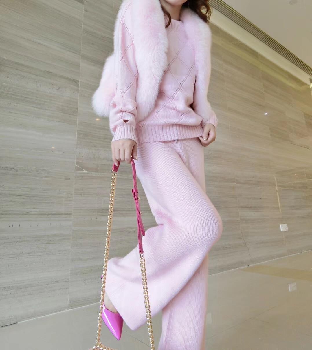 2017 зимний комплект из 2 предметов женские розовые Круглый воротник хеджирования вязать отверстие кашемировый свитер + широкие брюки компле
