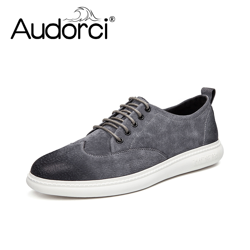 Audorci 2018 Spring Genuine Leather Fashion Men Shoes Lace-up Man Casual Shoe Handmade High Quality Men Flat Shoe Size 38-40 high quality men flats casual new genuine leather flat shoes men oxford fashion lace up dress shoes work shoe sapatos