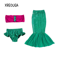 Xreouga ليتل ميرميد الذيل الأميرة ارييل اللباس تأثيري زي الاطفال فتاة ملابس تنكرية أداء الفتيات الصيف bj01