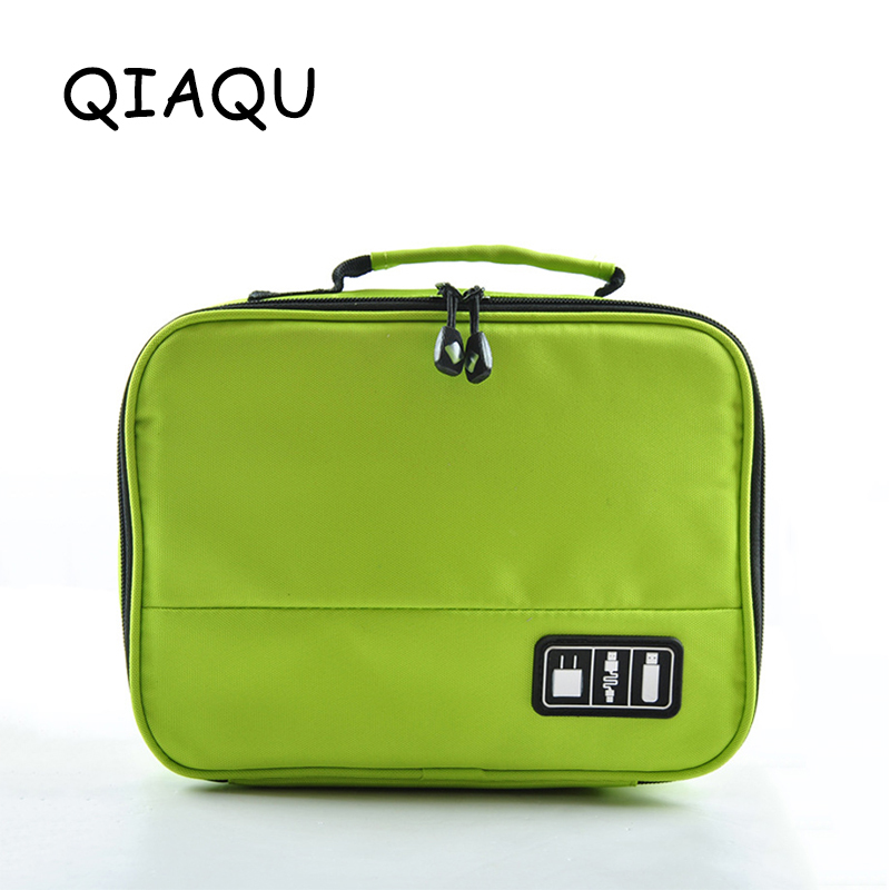 QIAQU High Quality Electronic Accessories Nylon Mens Travel Bag Organizer For Date Line SD Card USB Cable Digital Device Bag