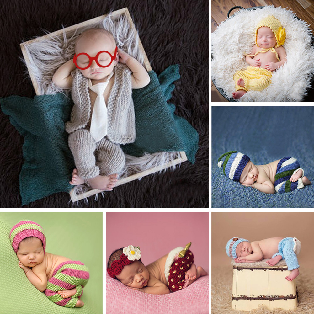 Newborn Photography Props Accessories Infant Baby Costume Handmade Knitted Beanies Hat for Baby Boys Girls Crochet Hats Caps