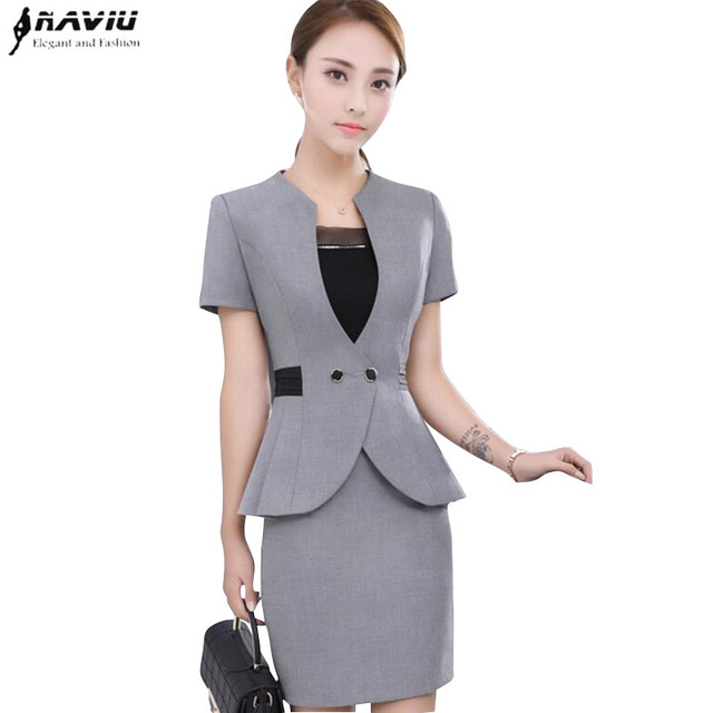 0ba0e6711254 Summer fashion women skirt suit formal elegant Double Breasted short sleeve  blazer and skirt office ladies plus size Work wear