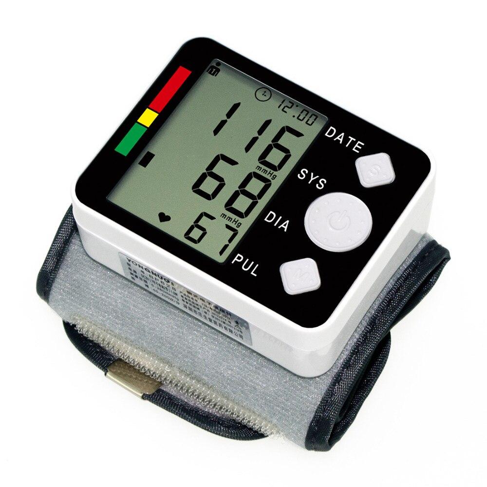 Hot!Portable Blood Pressure Meter Digital Monitor Wrist Automatic Sphygmomanometer for Home Health Care Measurement
