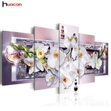 Huacan 5D DIY Полная квадратная алмазная живопись «цветок орхидеи» мульти-картина комбинация вышивка крестиком мозаичный Декор