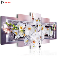 Huacan 5D DIY Full Square Diamond Painting orchid flower Multi picture Combination Embroidery Cross Stitch Mosaic Decor