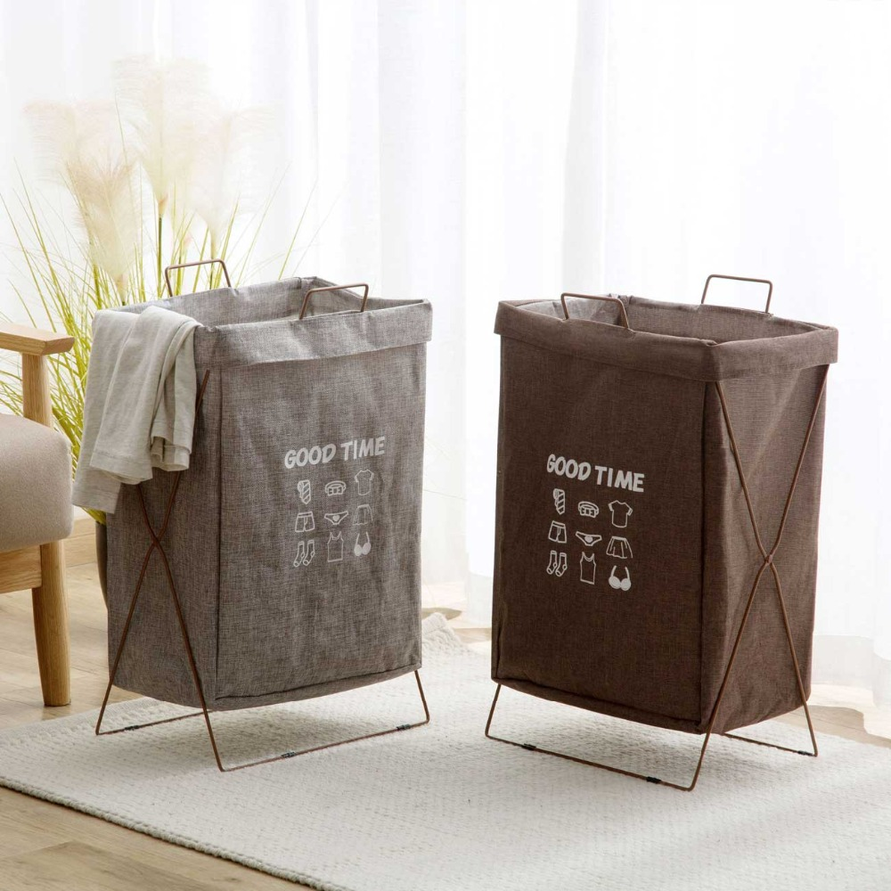 Iron Frame Foldable Laundry Basket Cotton Linen Baby Toys Dirty Clothes Basket Bathroom Portable Waterproof  Laundry Hampers