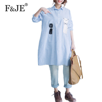 F&JE 2017 Spring New Art Style Women Loose Casual Long Shirt High quality Vintage Embroidery cotton linen Blouses Tops J502