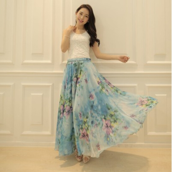 2015 High Quality 18 Color Floral Print Silk Long Chiffon Skirts ...