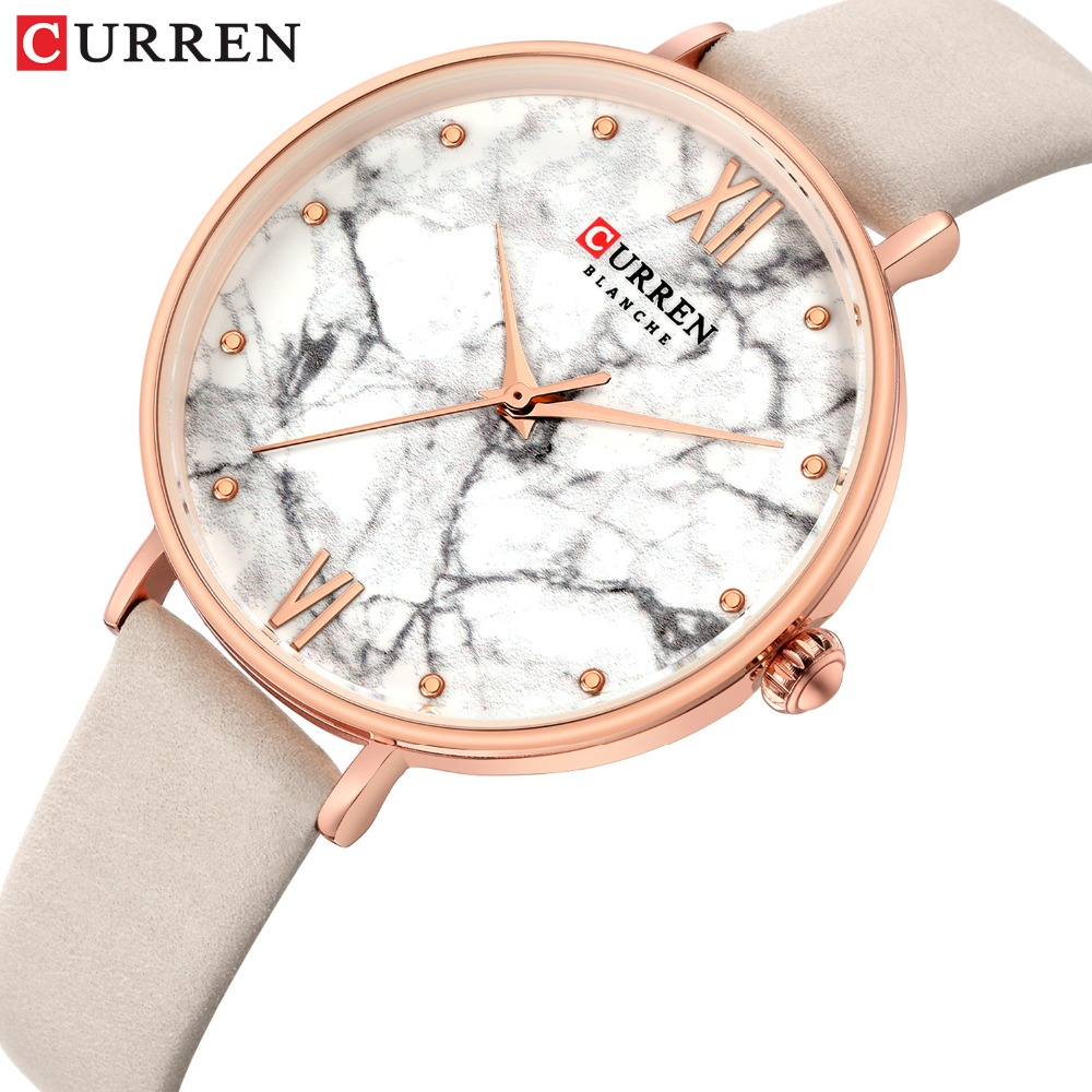 Leather Band Luxury Brand New Women Watch Casual Fashion Ladies Wristwatch Glassy Waterproof Female Clock Reloj Mujer CURREN
