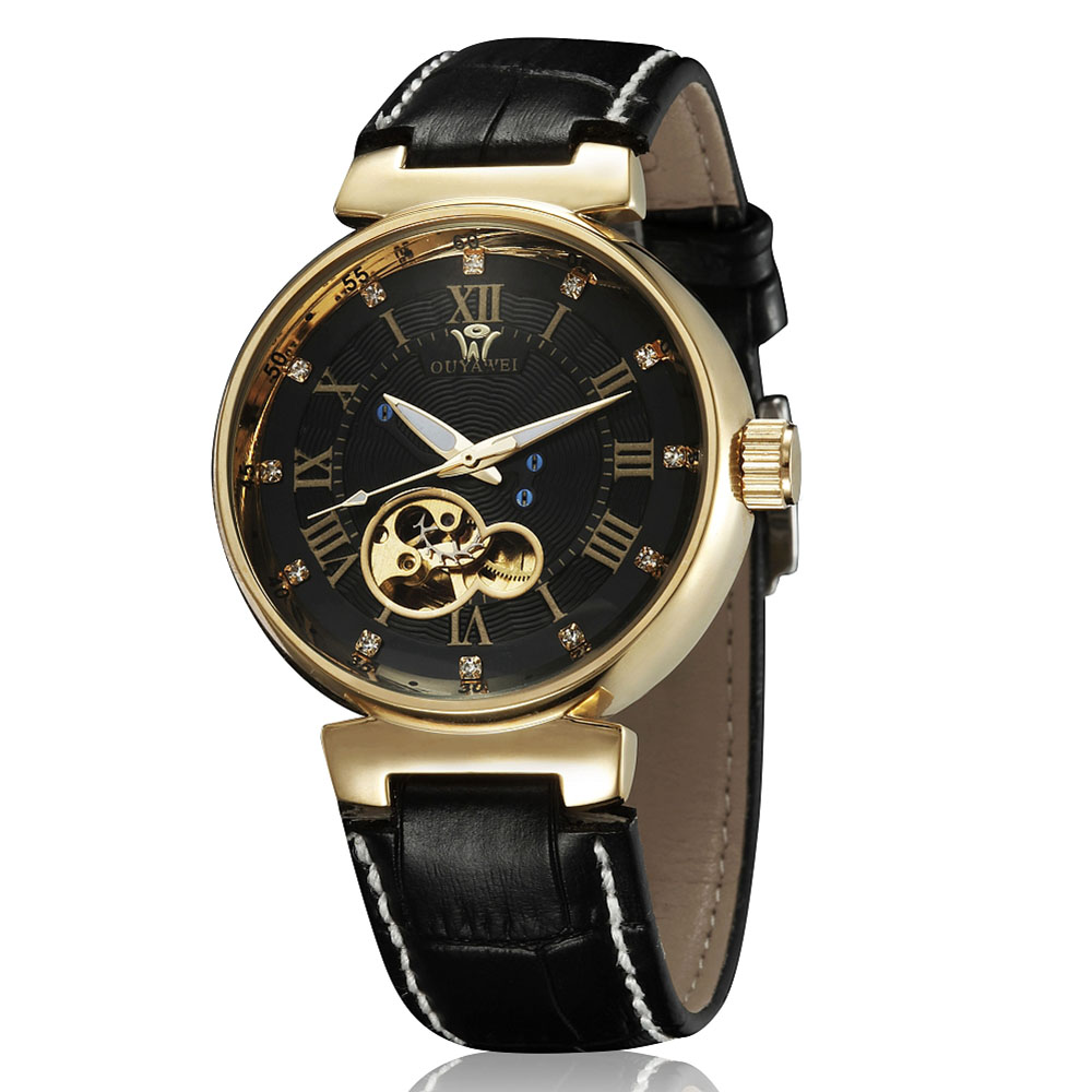 OUYAWEI Male Clock Luxury Gold Tone 40mm Case Hollow Dial Relogio Masculino 2018 Mechanical Automatic Skeleton Watch Goldene Uhr der goldene topf