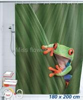 Cute Frog Design Shower Curtain Bathroom Waterproof Mildewproof Polyester Fabric With 12 Hooks 180cm 200cm