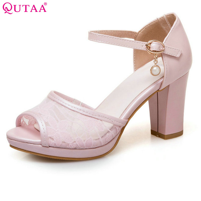 цена на QUTAA 2017 Women Pumps Square High Heel PU Leather String Bead Ankle Strap Peep Toe White Ladies Wedding Shoes Size 34-43