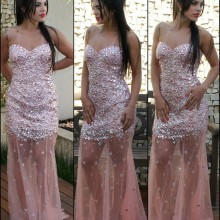Bling Crystal Beaded Mermaid Prom Dresses Floor Length