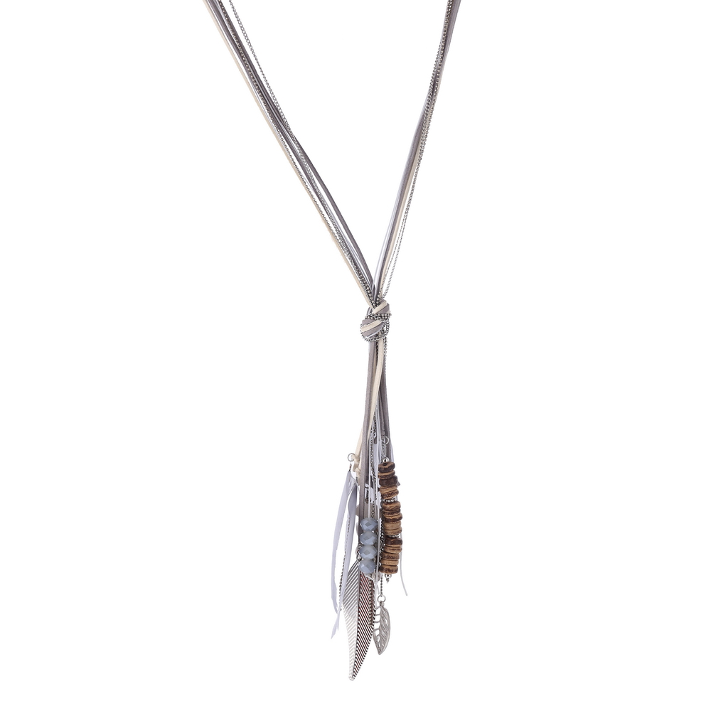 Metal Leaf Shape Feather Long Tassel Necklace Wooden Beads