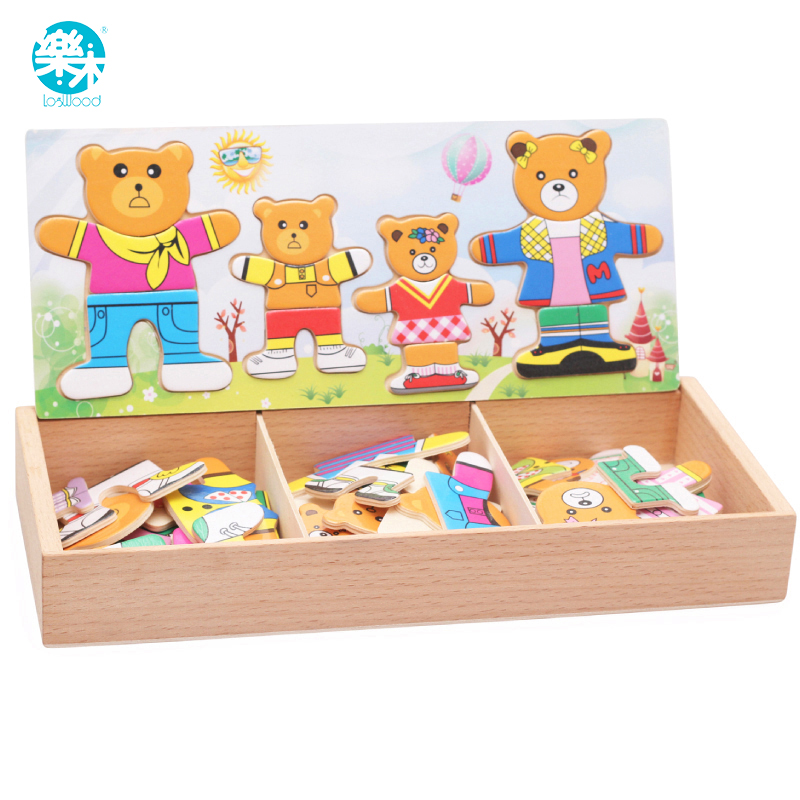 Logwood Baby Toy Set Baby Educational Table Game Bear Changing Clothes Dressing Jigsaw Wooden Puzzles Wooden Toy For Children