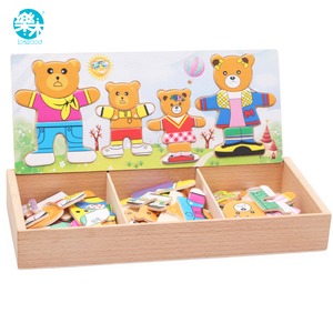 Logwood Baby toy Set Baby Educational Table game Bear Changing Clothes Dressing Jigsaw wooden Puzzles Wooden Toy for Children(China)