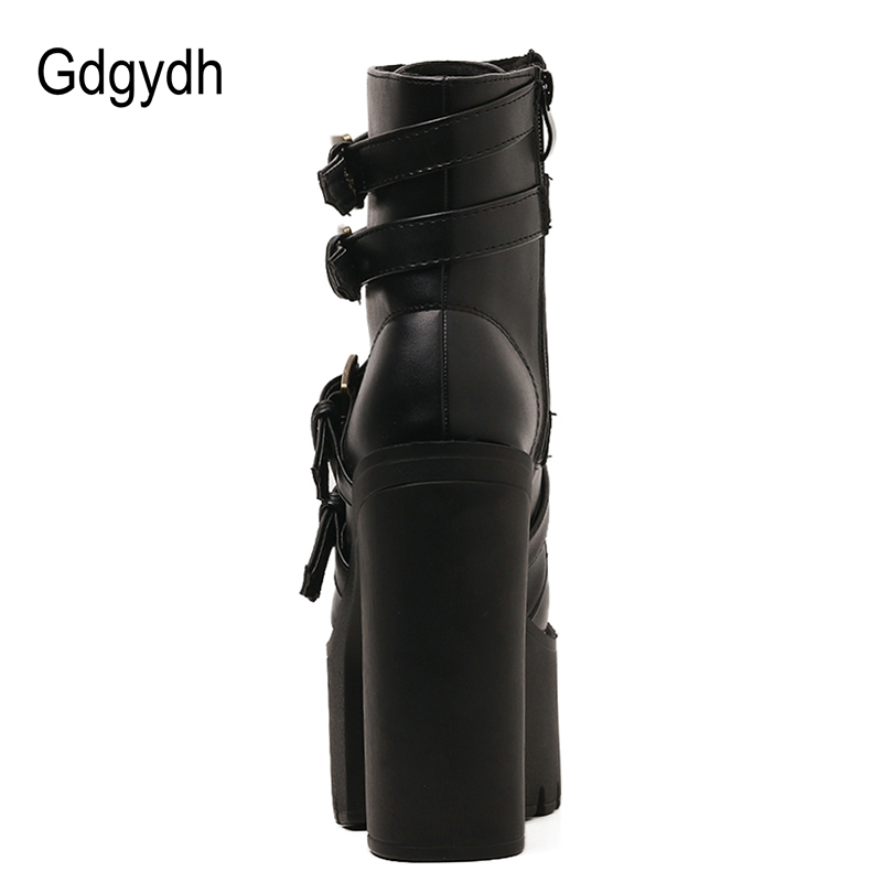 Gdgydh Sexy Rivet Black Ankle Boots Women Platform Soft Leather Autumn Winter Ladies Boots With Zipper Ultra High Heels Shoes