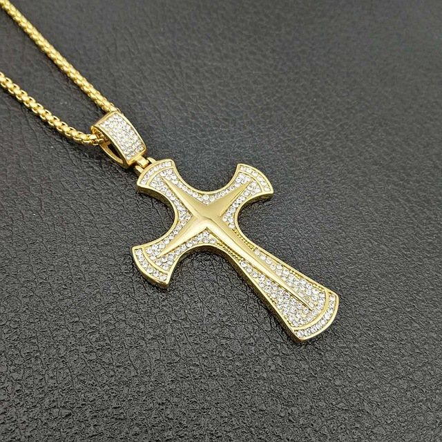 fc72e862c1a04 US $10.65 25% OFF New Hip hop Cross Necklace For Men 316L Stainless Steel  Gold Color with zircons big Cross Pendant Necklace Male Cheap Jewelry-in ...