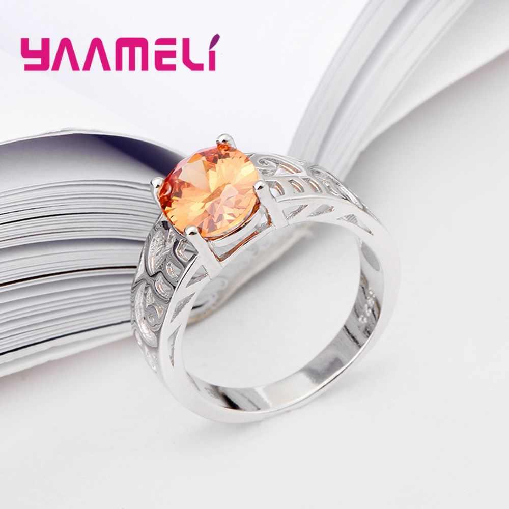 Hot ผู้หญิงแหวนคริสตัลสำหรับของขวัญครบรอบ 925 แหวนหมั้นแหวนเงินเครื่องประดับ Bague Femme Anillos