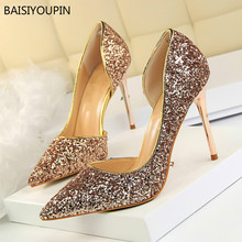 все цены на Solid Women Shoes Bling Sexy Lady Nightclub Stiletto Pointed Toe 8-9cm Thin High Heel Side Hollow Party Female Pumps Shoes онлайн