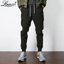 LOMAIYI yeni streç erkek Joggers pantolon 2019 bahar/sonbahar haki/siyah Harem pantolon erkekler günlük pantolon erkek koşucu pantolonu BM310