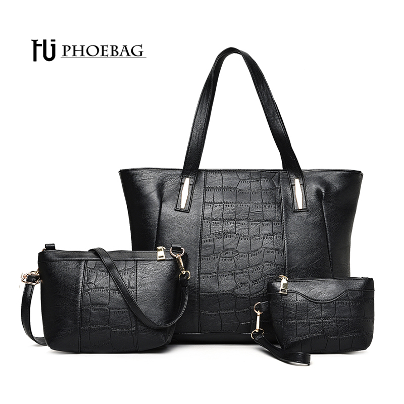 HJPHOEBAG Brand 3 pcs/set Fashion women bags lady Casual tote Shoulder bag high quality Handbags PU Leather 4 colors bags HJ-627