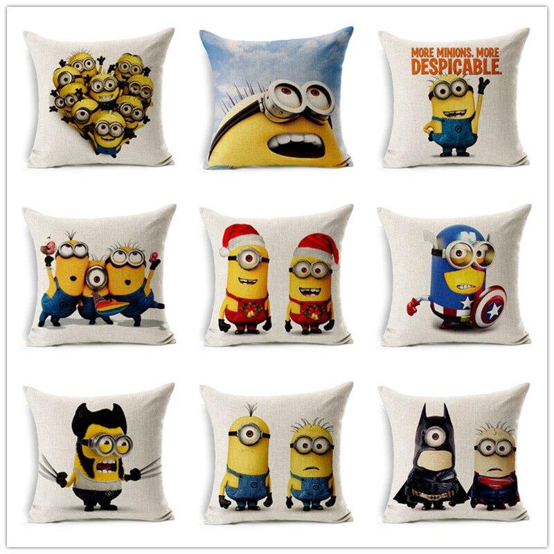 Children Cartoon Cute Strange Minions Cotton Linen Bed Sofa Pillowcase Decorative Cushion Fundas Para Cojines Without Filling