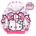 Crianças roupas crianças outono manga moda bebê meninas top coat de algodão dos desenhos animados hello kitty camisola morango bonito moletom com capuz roupas
