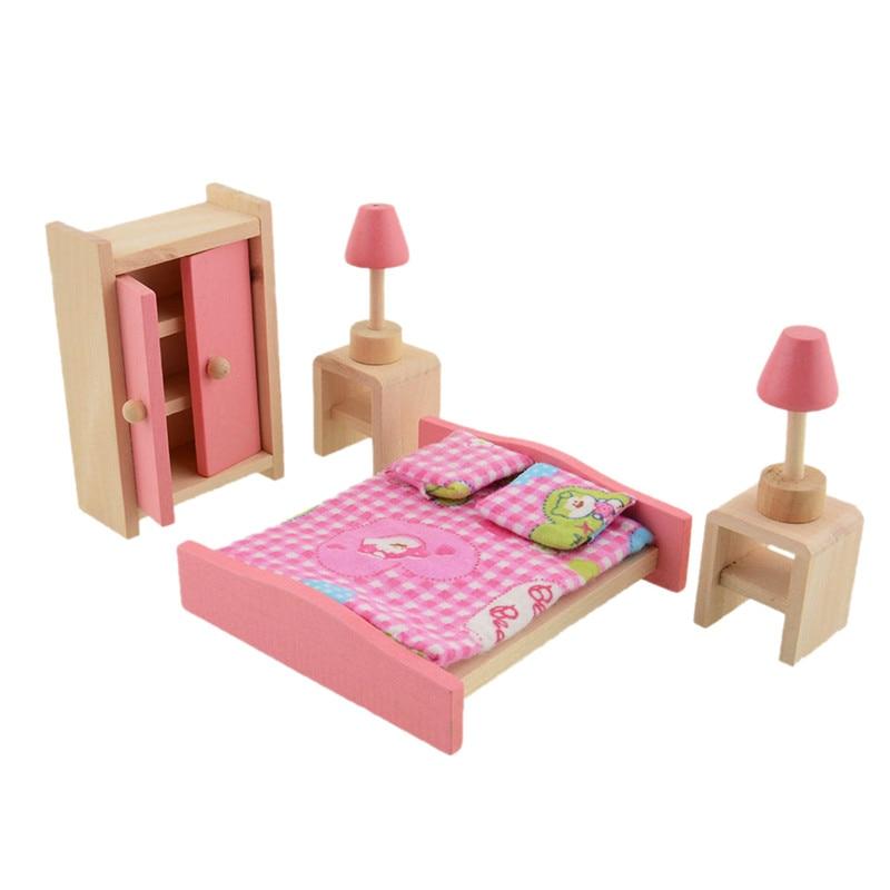 comprar unidsset de madera casa de muecas muebles juego de dormitorio con mini doble lmpara de mesa de cama armario de set iphone