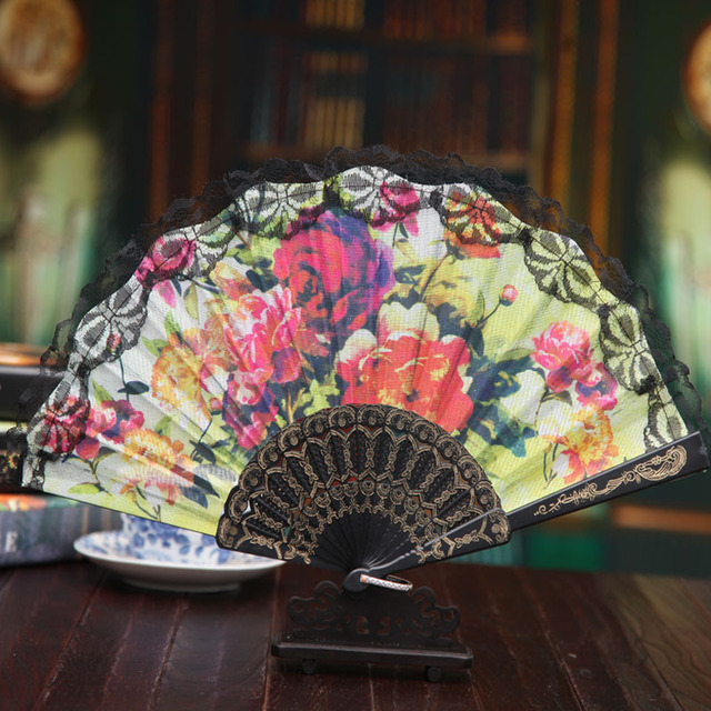50 Pieces Lot New Women S Lace Folding Fan Elegant Plastic Hand Fans Wedding