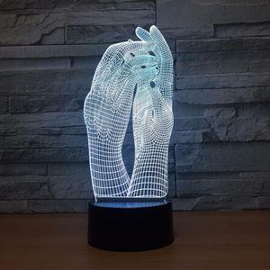 Image 3 - Liebe Zwei Hände Schöne 3D Lampe LED Nacht Licht USB Touch Tisch Lampe Dekoration Party Urlaub Innen Beleuchtung Abbildung Lampe