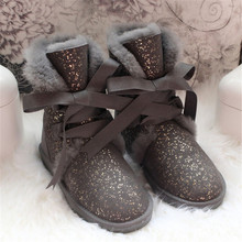 grwg Shoes Women Real Wool Boots 2018 Genuine Sheepskin Woman Snow Boots Botas Mujer Winter Shoes Women's Boots Natural Fur