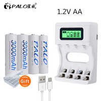 4 Slots LCD display AA battery Charger for battery aa/AAA Batteries+4 pcs AA 3000mah nimh 1.2V rechargeable batteries