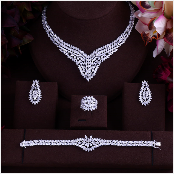 JaneKelly Gold-Color Luxury Sparking Brilliant Cubic Zircon Drop Earring Necklace Jewelry Sst Wedding Bridal jewelry sets