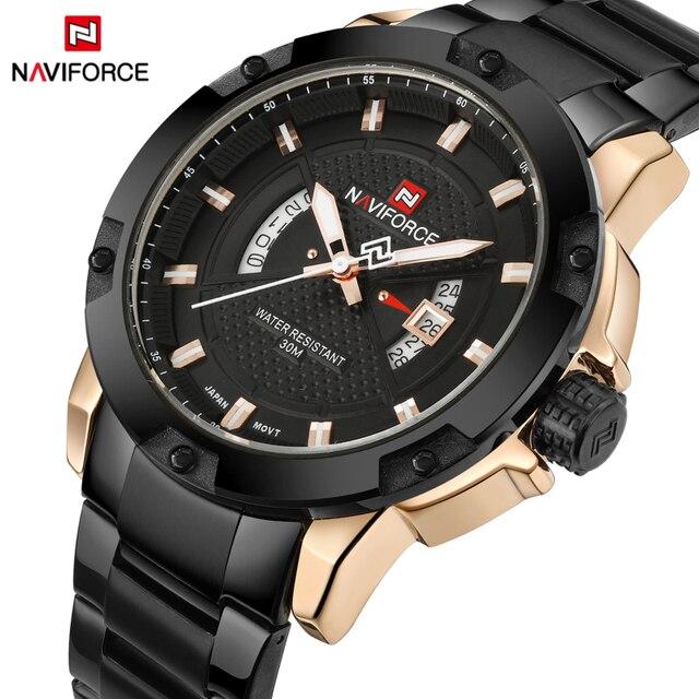 最高級ブランドメンズ腕時計naviforce男性フルスチール日付防水スポーツメンズアーミーミリタリークォーツ腕時計時計リロイhombre