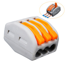 5/10/20 PCS 32A Reusable Spring Lever 3 Way Electrical Connectors Wire Block Clamp Terminal Block Cable