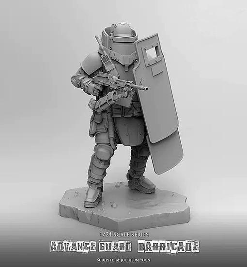 1//24 Marchine Soldier With Boy Resin Garage Kit Unpainted Unassembled Sci-Fi GK