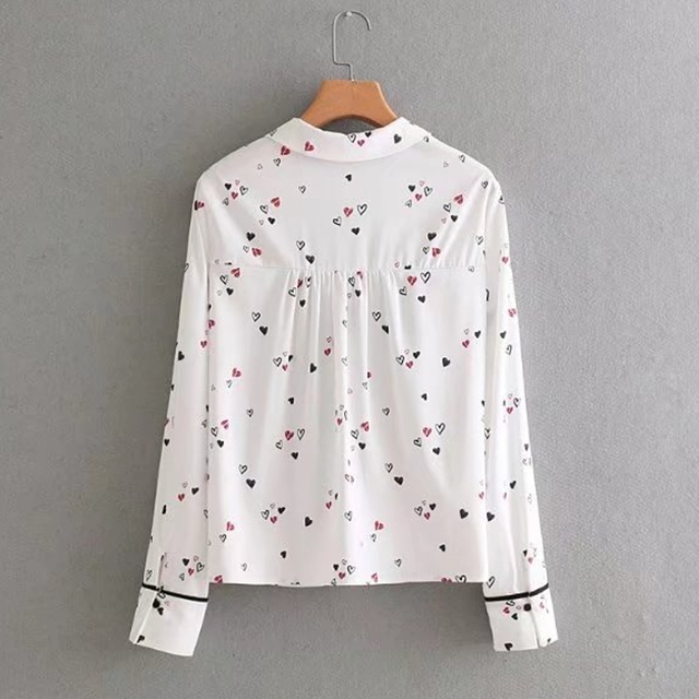 Vintage Hearts Printed Women's Blouse with Bow