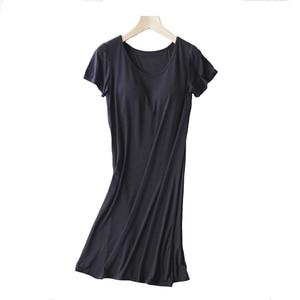 Image 4 - 女性カジュアルナイトドレスパジャマ内蔵ブラジャーパッド入り半袖固体ネグリジェラウンジドレス女性夜の睡眠ドレス