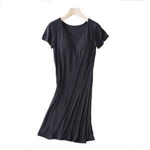 Image 4 - Women Casual Night Dress Sleepwear Built in Bra Padded Short Sleeve Solid Nightgown Lounge Dress Female Night Sleeping Dress