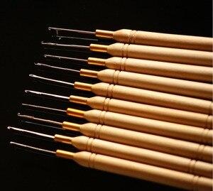 Image 4 - 48 pieces להרבה, הארכת שיער טבעת מיקרו כלי עץ משיכת מחט מברז הוק הנוצה