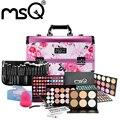 MSQ Makeup Sets Pink Cosmetic Bags With 29pcs Makeup Brushes And 4pcs Cosmetics For Professional Makeup Artist Makeup Kit
