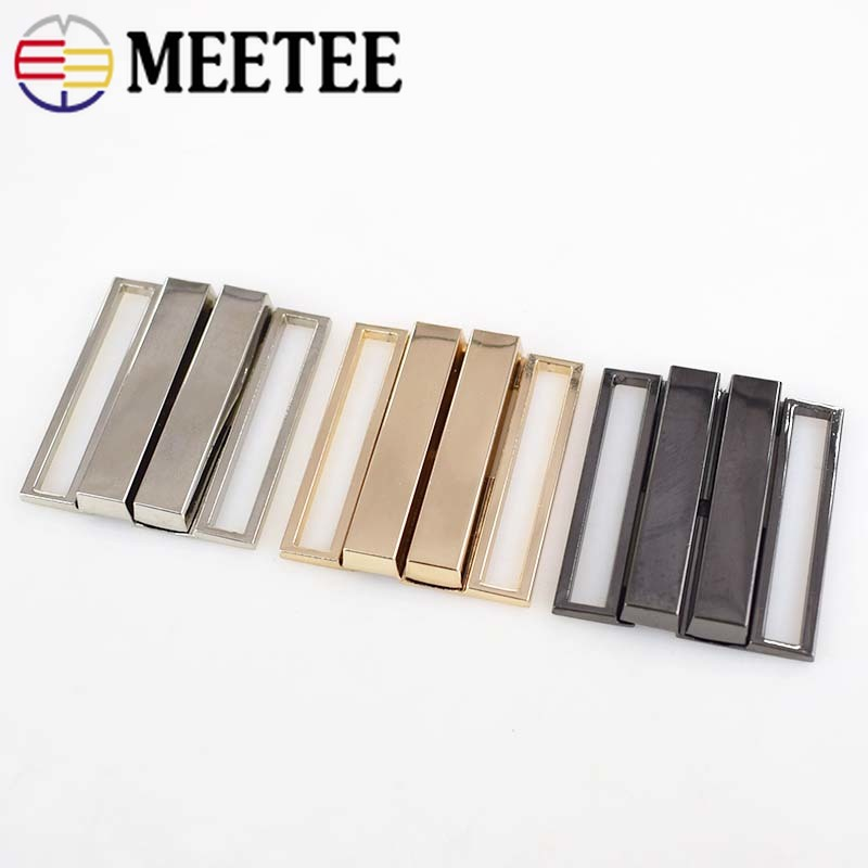 Meetee 2pcs 40mm 50mm Metal Buckle Down Jacket Belt Clothing Tri glide Adjust Slider DIY Decorative Accessories BD439 in Buckles Hooks from Home Garden