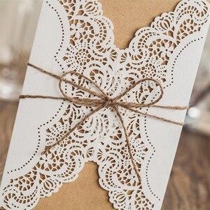 Image 4 - 50 adet kağıt lazer kesim düğün davetiyeleri kart kitleri zarflar ile doğum günü hediyesi tebrik kartları düğün dekor parti malzemeleri