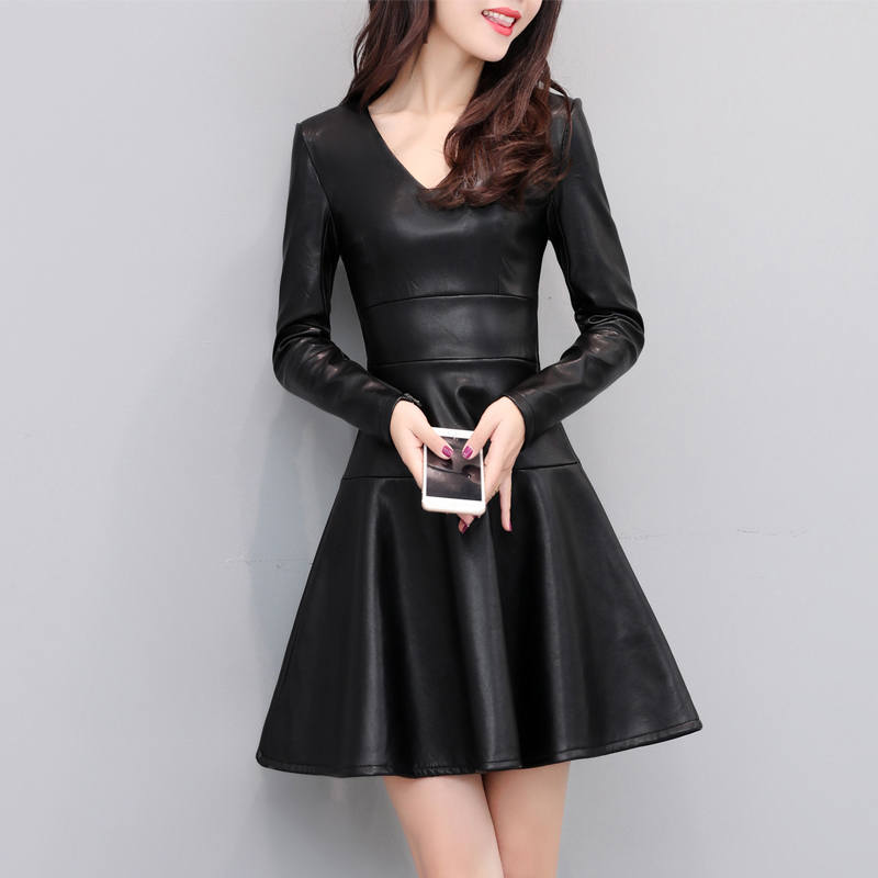 Autumn Winter Black PU Leather Long Sleeve Dress Women Jurken Slim Plus Velvet Dress Short Sexy