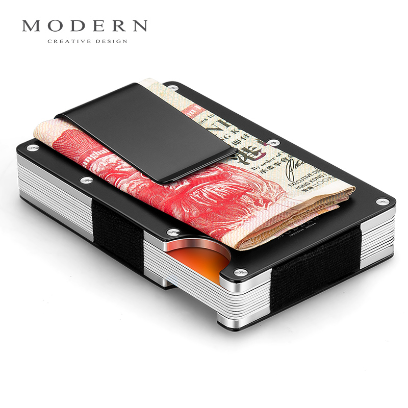 Modern - Brand Aerial Aluminum Money Clip Slim Pocket Purse Cash Holder Card Organizer Men Women Wallet Rfid Block Card Case